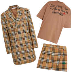 Burberry and Vivienne Westwood's Cool Earth capsule collection includes, clockwise from left, double-breasted jacket, £1,150; T-shirt, £290; and boxer shorts, £55