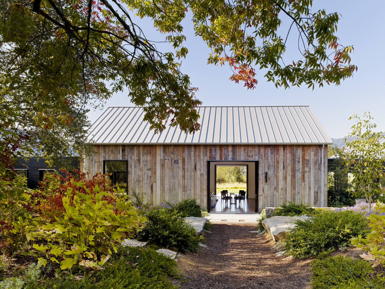A barn in California's Portola Valley has been turned into an office, media room and guest suite