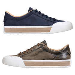 "From left: Tod's Sportivo sneaker in washed calfskin ""chrome"" tanned leather, £375. In muted navy suede, £330"