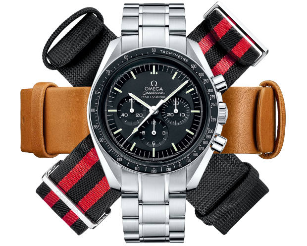 Omega steel Speedmaster Moonwatch, £4,160, and a selection of straps, £120 each