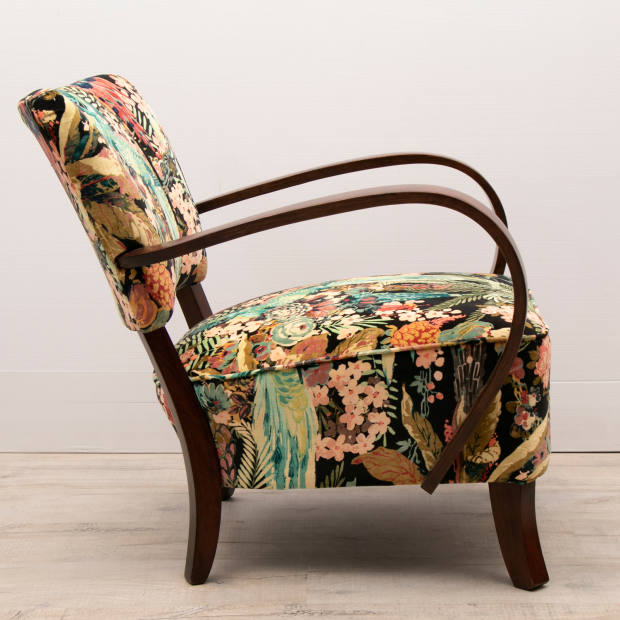 Halabala's H237 chair, £1,800 for pair, updated with a Linwood parrot print