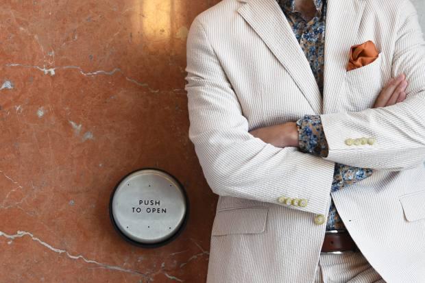 Haspel's smart seersucker suits have been worn by the likes of actor Jon Hamm