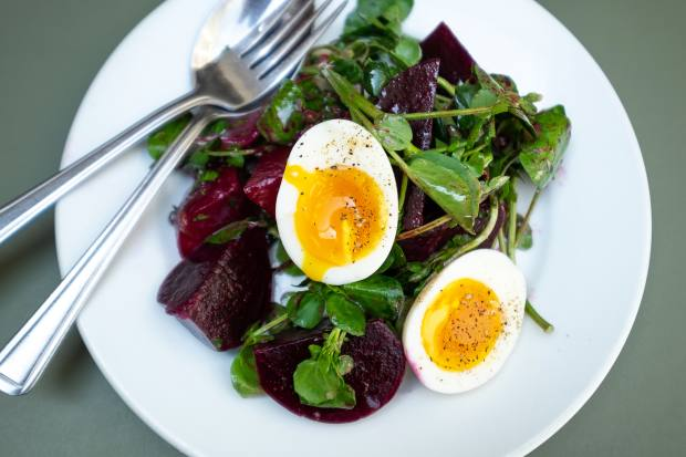 Beetroot and watercress salad with soft-boiled egg, £8