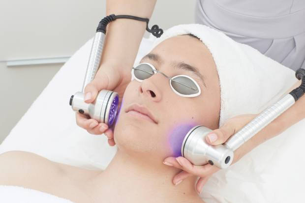 A facial with blue light therapy at Debbie Thomas