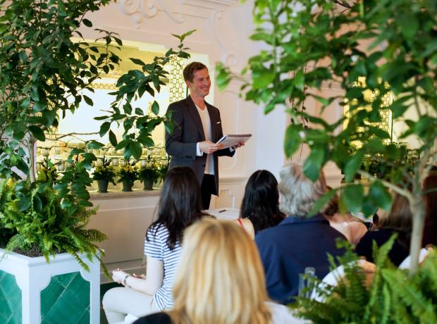 Novelist Andrew Sean Greer gives a reading to workshop participants.