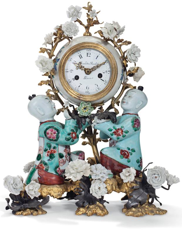 Louis XV ormolu and patinated bronze-mounted Chinese and Chantilly porcelain mantle clock, c1745, $40,000 to $60,000