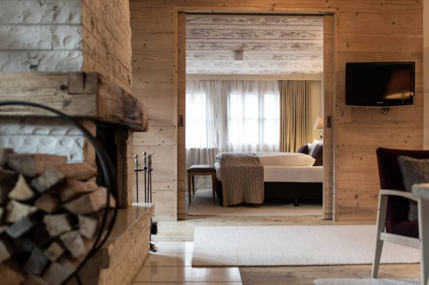 One of the suites at Rosa Alpina