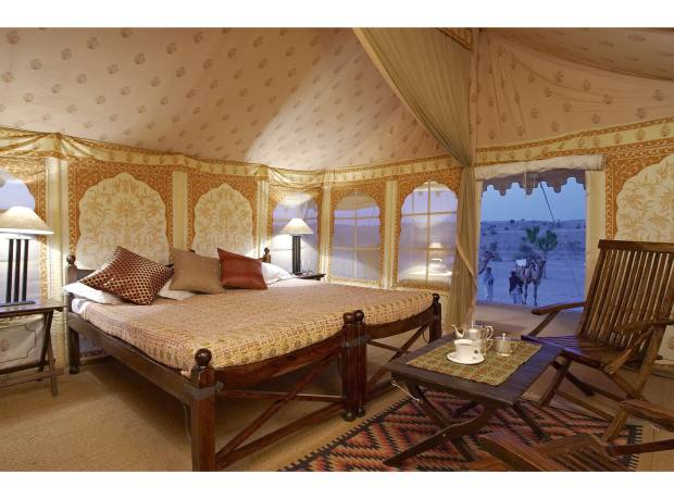 Tent interior at Manvar Desert Camp, in the Thar, Rajasthan, India