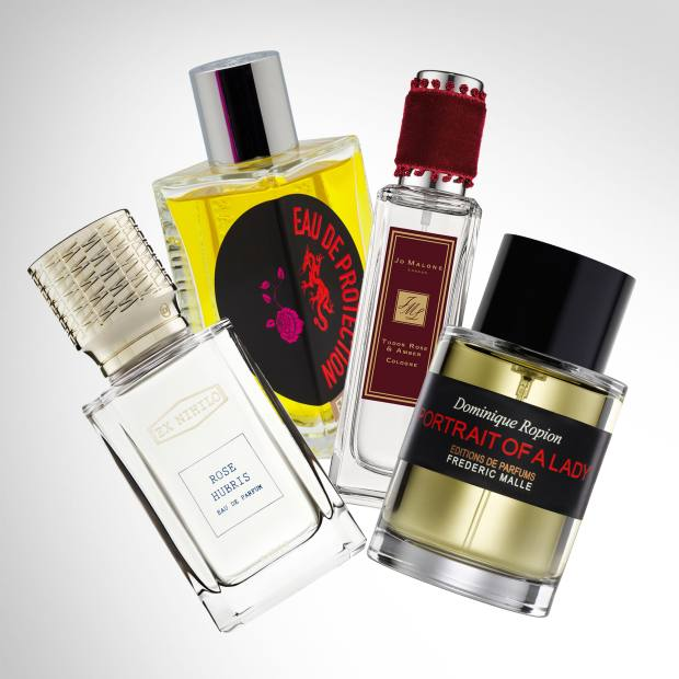 From left: Ex Nihilo Rose Hubris, £150 for 50ml EDP. Etat Libre d'Orange Rossy de Palma Eau de Protection, €125 for 100ml. Jo Malone Tudor Rose & Amber, £42 for 30ml EDC. Frédéric Malle Portrait of a Lady, £210 for 100ml EDP