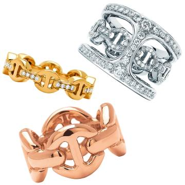 Clockwise from top: Hoorsenbuhs 18ct yellow gold and diamond Dame Tri-Link ring, $2,750. Interchangeable 18ct white gold and diamond Phantom Clique Antiquated ring, $10,500. 18ct rose gold Quad ring, $4,900