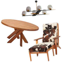 Clockwise from top: midcentury Arlus French-brass and opalinechandelier, £1,540. 1960s Hans J Wegner lounge chair, £4,574. 1960s Pierre Chapo French-elm dining table, £13,102