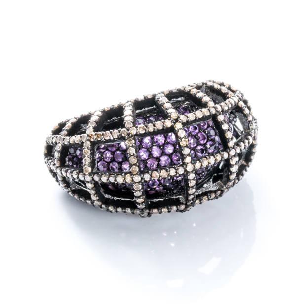 Modern Moghul pavé diamond and amethyst Divya ring, $1,700