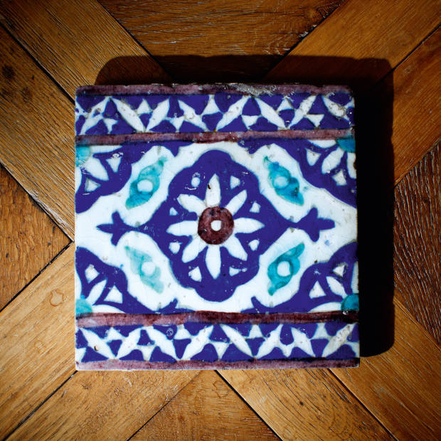 Grange's tile from Marrakech, given to him by Yves Saint Laurent