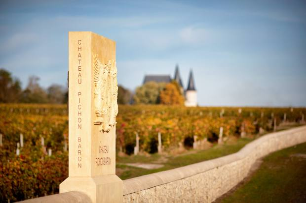 Boundary stone of the Grand Plateau of the Pichon Baron vineyard in Southern Pauillac