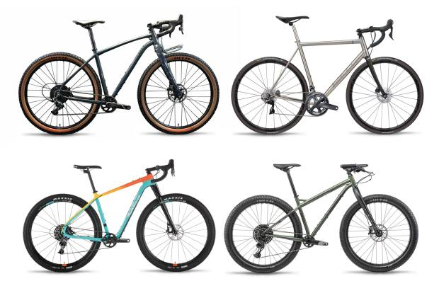 Clockwise from top left: Mason InSearchOf Force1X, from £3,140; masoncycles.cc. Best for: on- and off-road. Van Nicholas Skeiron, from €3,499; vannicholas.com. Best for: the road. Bombtrack Beyond+ ADV, from £2,500; lyon.co.uk. Best for: rough terrain. Salsa Cutthroat Force 1, from £5,000;  lyon.co.uk. Best for: on- and off-road.
