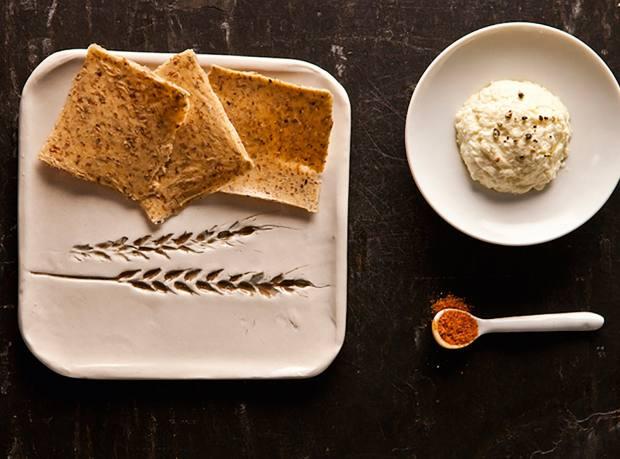 The restaurant's dbO Home handmade porcelain bread plate
