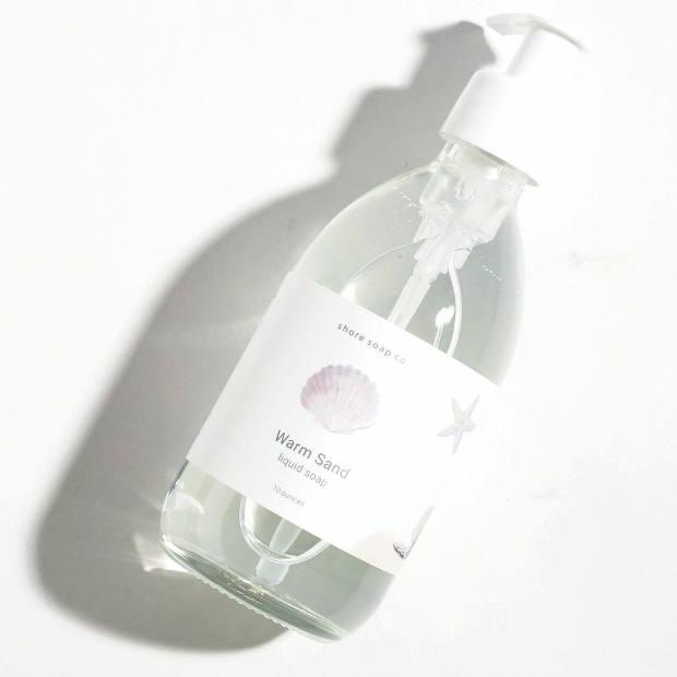 Shore Soap Co Warm Sand liquid soap, $12, has the faint scent of sunscreen