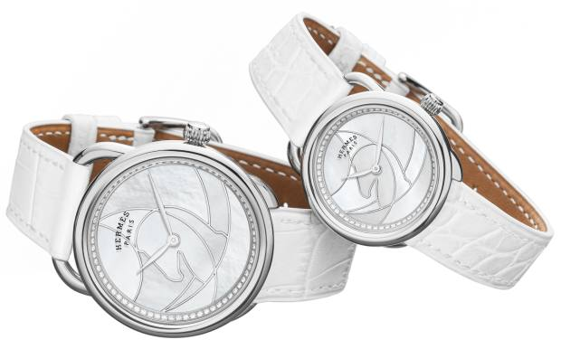 Hermès diamond, mother-of-pearl and stainless steel Arceau Cavales on chantilly alligator strap, £7,550 for the 36mm and £6,250 for the 28mm