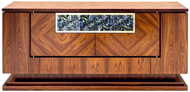 Smania rosewood, walnut, nickel, stainless-steel and leather Victory sideboard with labradorite panel, €8,022