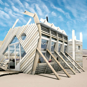One of the 10 chalets at Shipwreck Lodge in Namibia, designed to evoke shipwrecked barques