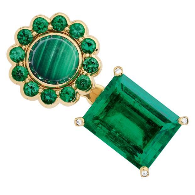 Dior gold, diamond, emerald and malachite ring, POA