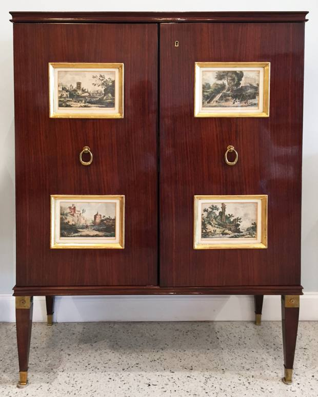 1950s Paolo Buffa mahogany cabinet with 18th-century engravings, $39,500 from Gary Rubinstein