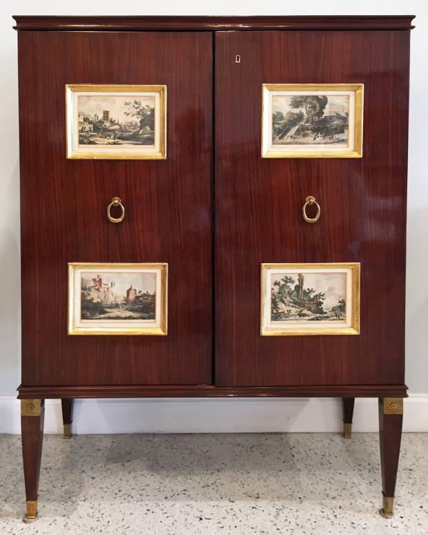1950s Paolo Buffa mahogany cabinet with18th-century engravings, $39,500 from Gary Rubinstein