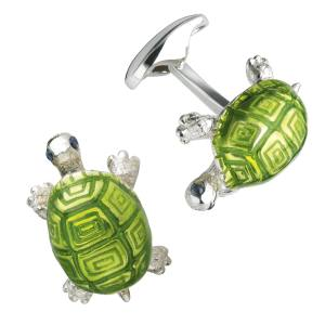 Kiki McDonough Tortoise cuff links in silver and enamel, £350. Also in dark green