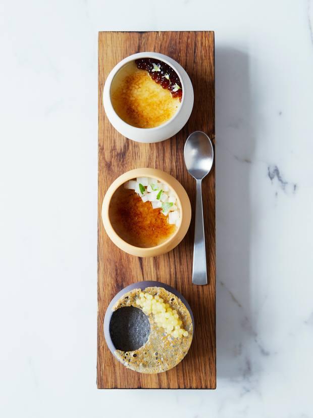 A twist on crème brûlée will be among the dessert options