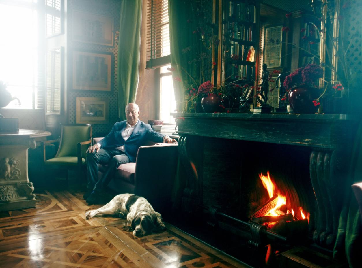 Axel Vervoordt relaxes at his 1,000-year-old castle outside Antwerp.