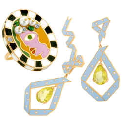 Jewellery to make you laugh and think… Clockwise from left, Aisha Baker Cadeau earrings, $7,650. Solange Azagury-Partridge Days Of The Weekring, price on request. Holly Dyment Clare ring, $6,250