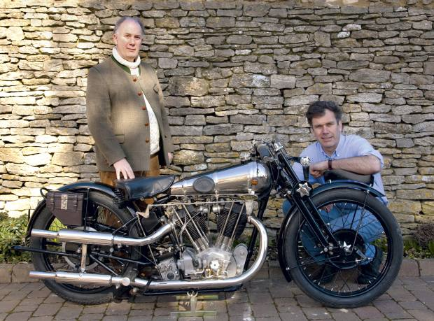 Mark Upham (left) and former Formula One mechanic Alastair Gibson with a new Brough Superior SS100 V Twin 1100C.