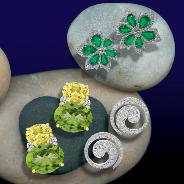 Clockwise from left: Kiki McDonough lemon-quartz, peridot and diamond Kiki Classic studs, £1,400. David Morris emerald and diamond Palm Leaf cluster ear clips, price on request. Jessica McCormack gold and diamond Mini Tattoo studs, £18,000
