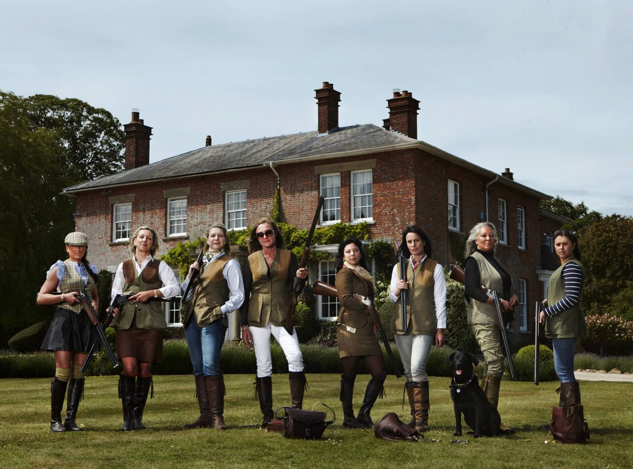 The Covert Girls at Hilldrop Farm in Ramsbury, Wiltshire. From far left: property company director Claire Poole, property developer Charmaine Royce, investment banker Nicole Escue, Covert Girls founder Claire Zambuni (who now works full time in the shooting world), consultant Kiko Thiel, chef Tessa Ferguson, property developer Sharon Simpson and Olympic shooter Charlotte Kirkwood.