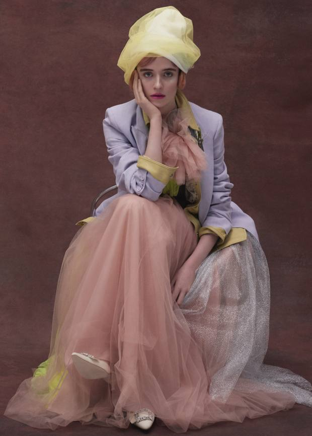 Michael Kors Collection linen/cotton jacket, £1,435. Acne Studios leather shirt, £2,100. Delpozo silk tulle gown, £6,500. Manolo Blahnik crepede Chine and crystal shoes, £745. Wool and nylonveil beanie created onset by Harvy Santos. Catface Hair wig, £450