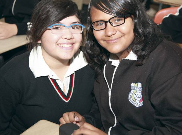 Children in Mexico wearing the Behar-designed eyewear for See Better to Learn Better.