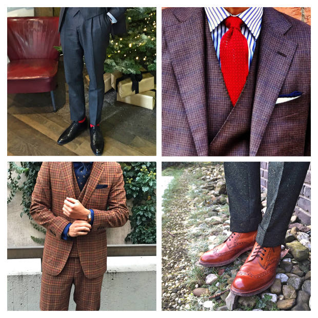 Clockwise from top left: Sons of Savile Row trousers and Loding shoes. Bonn by Hand tie. Grenson shoes. Suitsupply suit