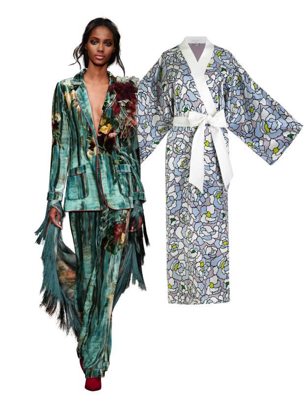 From left: Alberta Ferretti silk and viscose blazer, £1,010, and matching trousers, £640. Olivia von Halle silk kimono, £720