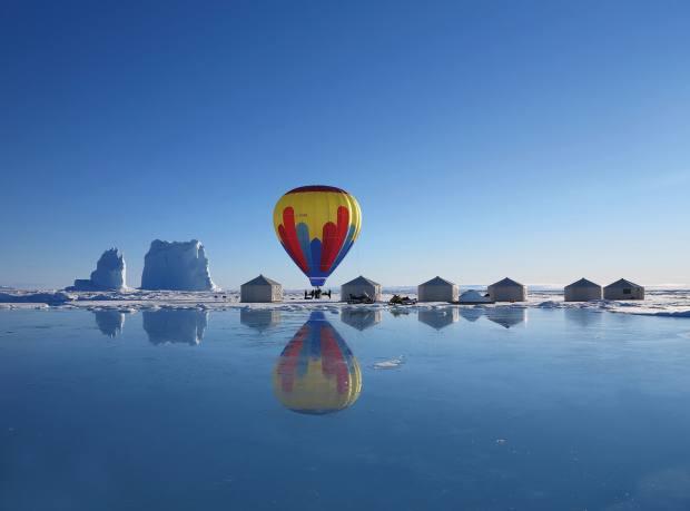 A hot-air balloon at Arctic Safari Camp in northern Canada