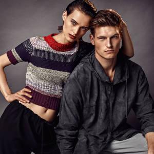 She wears Bottega Veneta cotton/Lurex crochet sweater, price on request. Bamford virgin wool drawstring trousers, £830. He wears Bottega Veneta suede parka, £3,235. Brunello Cucinelli cotton trousers, £420