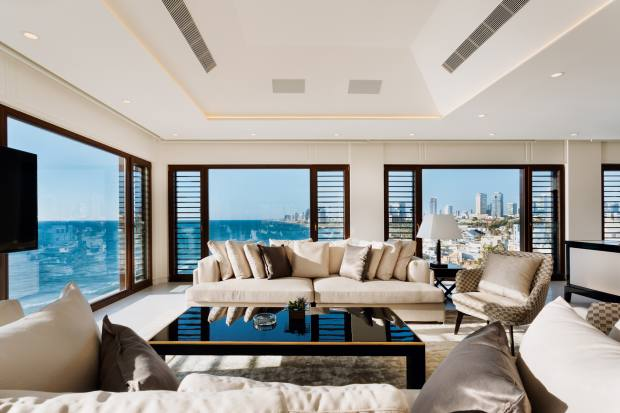 The presidential suite at the hotel has panoramic views over the Mediterranean and the city