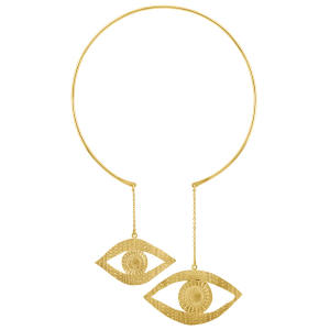 Sophie Simone gold-plated double-eye necklace, £325, from the V&A store