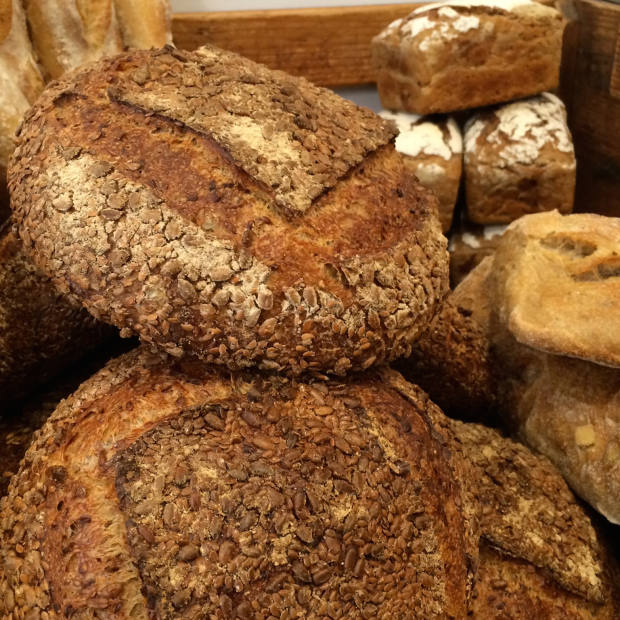 The bakery makes rye sourdough with raisins and caraway seeds (£2.65 for 400g), and sourdough loaves (£3 for 400g)