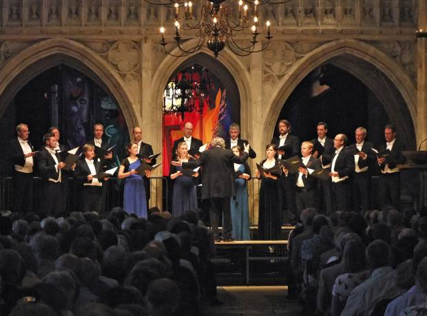 The Sixteen and Harry Christophers at Chichester Cathedral during their 2012 Choral Pilgrimage