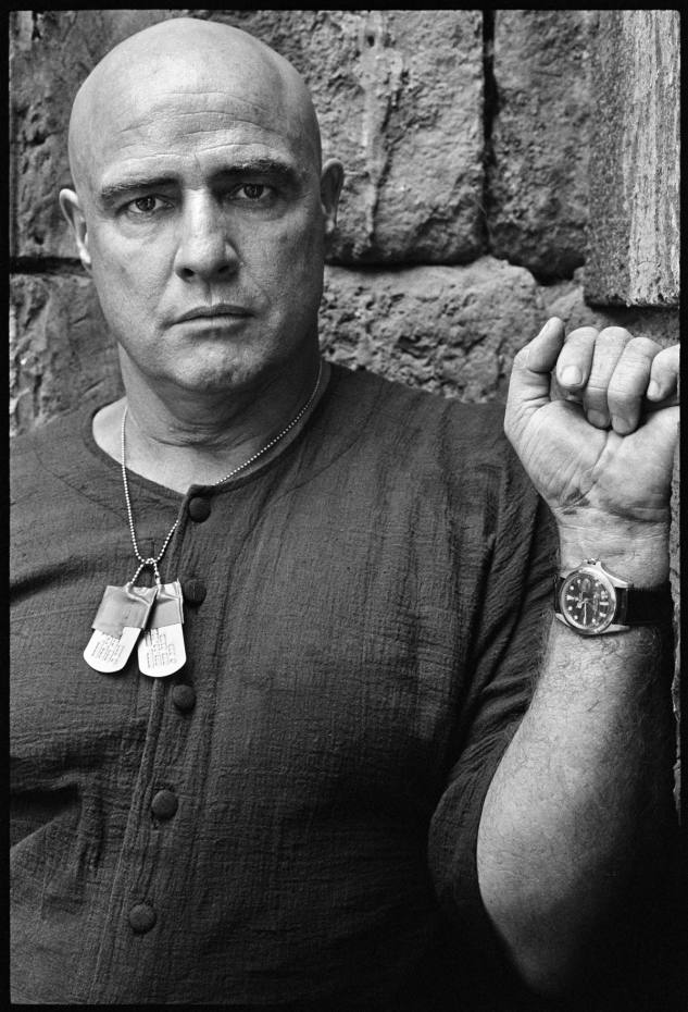 Marlon Brando photographed on the set of Apocalypse Now in 1979, wearing the Rolex watch that will be auctioned by Phillips New York