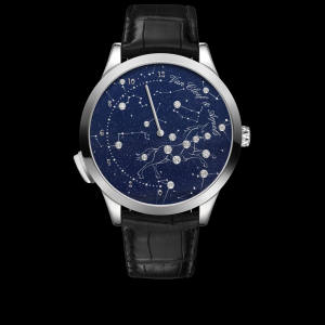 Van Cleef & Arpels white gold and enamel Midnight Nuit Lumineuse watch on alligator strap, price on request