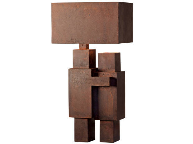 Atelier Van Lieshout Corten-steel Minimal Kiss lamp, price onrequest, whichlooks toRodin's TheKiss