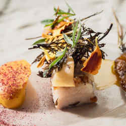 Iberian Pork jowl, with carrots and bitter orange, an example of the dazzling cuisine on offer at Ceia