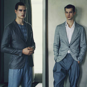 Bjorn (left) wears wool-mix jacket, £1,250, silk-mix sweater, £1,250, cotton wrap-front trousers, £450, and velvet espadrilles, £275, all by Giorgio Armani. Theo (right) wears wool-mix jacket, £1,100, cotton shirt, £340, tapered silk-mix trousers, from £450, and velvet espadrilles, £275, all by Giorgio Armani. Giorgio Armani, 37 Sloane Street, London SW1 (020-7235 6232; www.armani.com) and branches/stockists.
