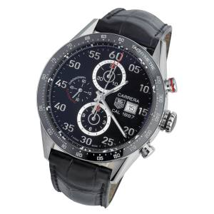 TAG Heuer Carrera Calibre 1887 Chronograph in steel and ceramic on alligator strap, £3,995. Also with steel strap